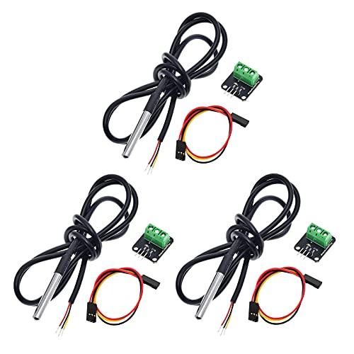 DS18B20 Kit de módulo de sensor de temperatura, APKLVSR DS18B20 con sonda de acero inoxidable impermeable para Raspberry Pi