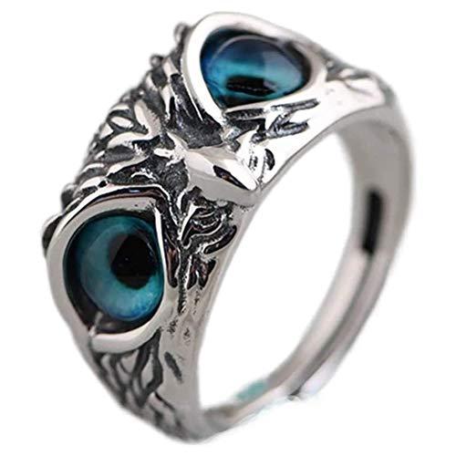 Kagodri Anillos de plata, plata de ley 925, anillo de búho de ojo de demonio, anillo de compromiso, anillo de boda, regalo para mujer (aleación de aluminio)