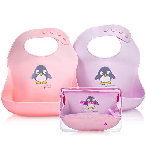 NatureBond Babero de Bebé del Silicona (2pcs), Baberos Reutilizables Impermeable súper suave, Fáciles de Lavar Babero Alimenticio de Silicona para Bebé Niño o Niña