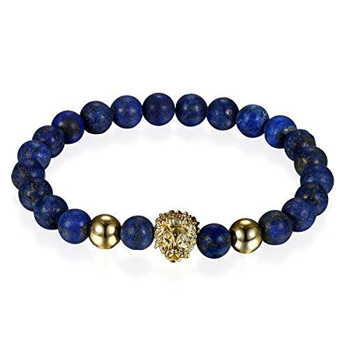 Flongo 8mm Pulsera de Cuentas Piedras Azul Oscuro para Hombre Mujer, Pulsera Budista de Suerte Leon Brazalete de energia, 17cm Pulsera para Verano