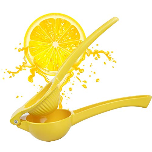 Handheld Lemon Lime Juicer Manual Fresh Juice Squeezer Extractor Heavy Duty Metal Orange Citrus Fruit Hand Held Press Presser Reamer No Seed Pulp Easy to Clean for Drink Home Kitchen Bar Commercial