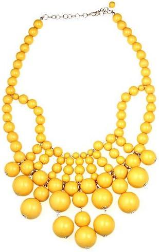 wiipujewelry WIIPU Huge Yellow Acrylic Beads Links Necklace Bubblegum Bauble Bib Necklace(WIIPU-A126)