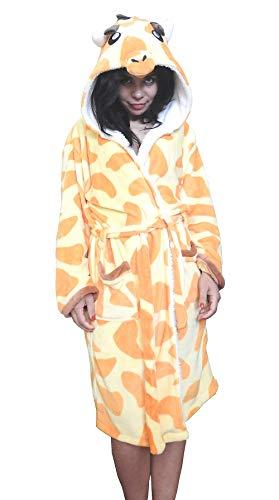 Schlafrock - Bademantel - Schlafzimmer - Nachtwäsche - Schlafanzug - Mann - Frau - Unisex - weiches Fleece - mit Kapuze und Gürtel - Figuren - Größe m - Giraffe