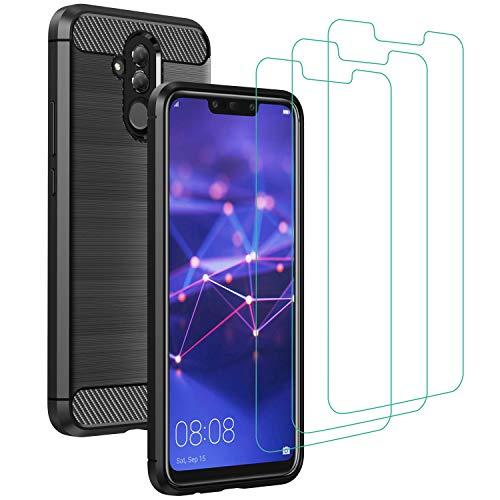 ivoler Funda para Huawei Mate 20 Lite con 3 Unidades Cristal Templado, Fibra de Carbono Carcasa Protectora Antigolpes, Suave TPU Silicona Caso Anti-Choques Case Cover - Negro