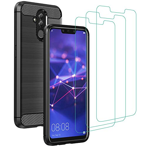 ivoler Funda para Huawei Mate 20 Lite + 3 Unidades Cristal Templado, Fibra de Carbono Negro TPU Suave de Silicona [Carcasa + Vidrio Templado] Ultra Fina Caso y Protector de Pantalla