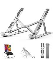 BoYata Laptop Stand, 6 Levels Height Adjustable Laptop Desktop Holder, Foldable Portable Aluminum Raiser, Compatible with MacBook Air/Pro, Dell, HP, Lenovo, most 10-14 Inch Laptops