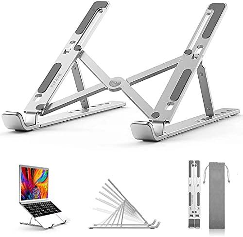 """BoYata soporte para computadora portátil, soporte para computadora portátil con ajuste de altura 6, elevador plegable de aluminio, para MacBook Air / Pro, HP, la mayoría de las laptops de 10-15.6 """""""