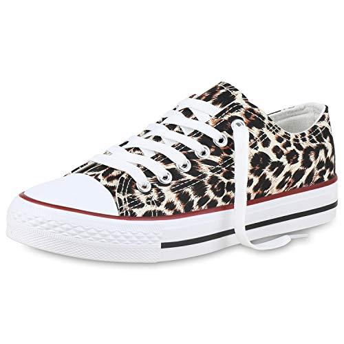SCARPE VITA Damen Sneaker Low Basic Turnschuhe Freizeit Schuhe Schnürer Flats 173888 Leopard Weiss 38