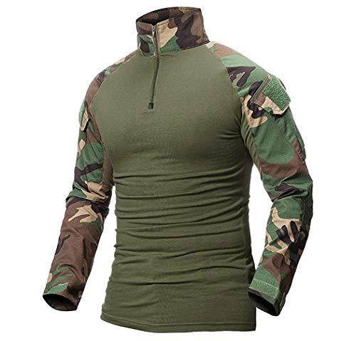 ShallGood Taktisches Hemd Männer Militär Airsoft BDU Hemd Kampf Taktisches Langarm Jagdhemd Multicam C Grün Medium