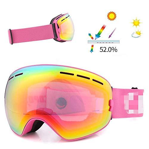 Mnjin Skibrille Winddichte Skibrille Doppelscheibe Anti-Fog UV400 Skibrille Ski Furnier Herren und Damen Pinke Skibrille