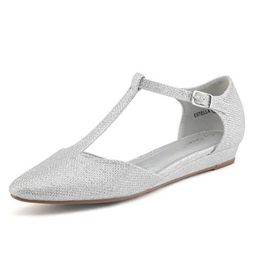 DREAM PAIRS Women's Silver Glitter Low Wedge Ballet Flats Shoes Size 5 M US Estella