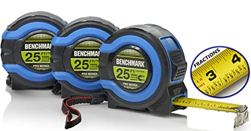 3 Pack - 25 Foot Tape Measures - Easy To Read Fractions To 1/8th - Magnetic Claw Tip - Thumb and Quick Lock - Autowind - Belt Clip