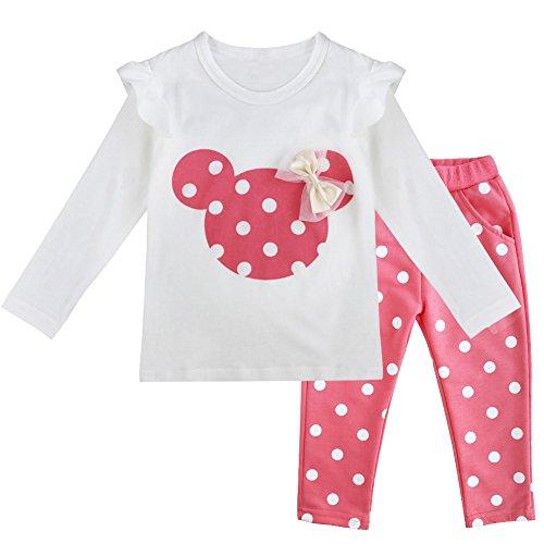 TiaoBug Babykleidung Baby Mädchen Baumwolle Langarmshirt Bluse Top und Pink Dunkelblau Rot weiß Gepunktete Hose 80 86 92 98 Rosa 86