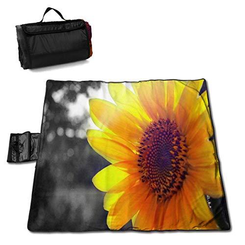 GuyIvan Picknickdecke Personalisierte helle Sonnenblumenmuster Outdoor Stranddecke Tragbare Sandfreie Strandmatte für Erwachsene Picknickmatte