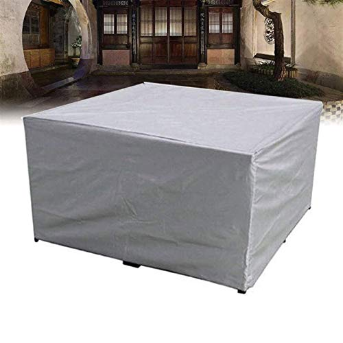 Patio Cover Garden Furniture Table Chairs Protective Cover Rectangular Furniture Set Cover Waterproof Windproof UV-Resistant for Outdoor, Silver (Size : 308×138×89cm)