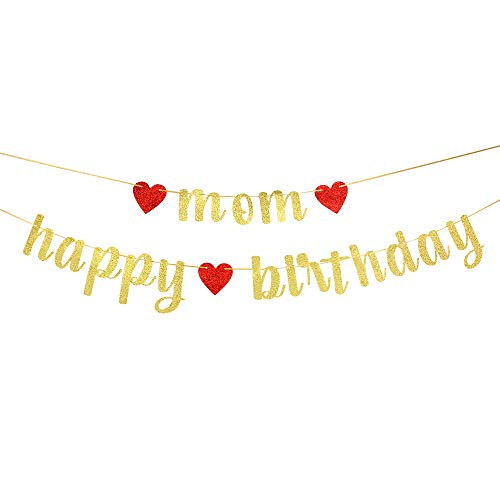 Gold Mon Happy Birthday Banner, Birthday Party Decorations for Mather, Women's Birthday Party Supplies