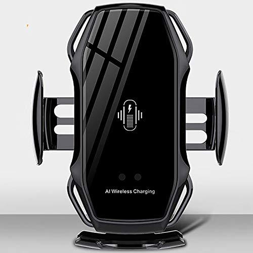 Carga inalámbrica del Coche infrarrojo de la inducción Inteligente, Coche automático Cargador inalámbrico Soporte para teléfono móvil,Negro