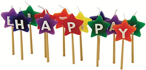 Tala 10A10312 Happy Birthday Coloured Star Candles