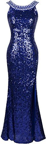 Angel-fashions Damen Rundhals Perlstickerei Paillette Ruckenfrei Schlitz Party Kleid XLarge Blau