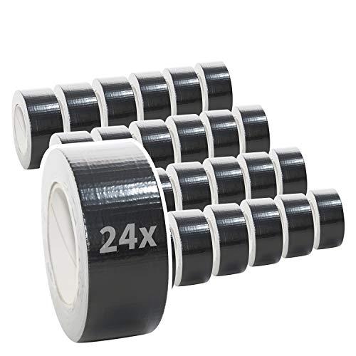 24 Rollen Premium Gewebeband in schwarz | Panzertape | Panzerband | Klebeband | Gaffa Tape | 50mm x 50m, Farbe:schwarz