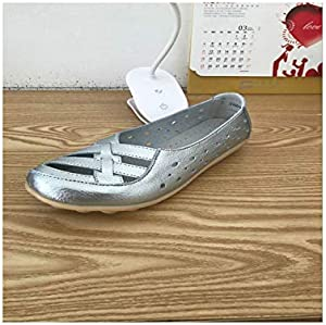 Genuine Leather Flats Women Soft Bottom Hollow Out Shoes Slip on Breathable Shoes Flats