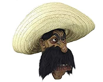 Ghoulish Productions Zapata Mask Halloween Costume Party Big Mexican Hat Latex Mask  Brown