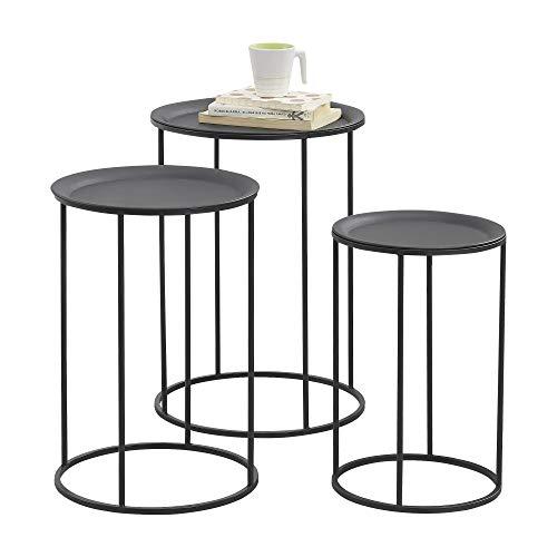 [en.casa] Set de 3 Mesas de Centro de Metal de Diferentes Medidas Mesa Auxiliar de Salón Mesa de té - Mesa de café Negro