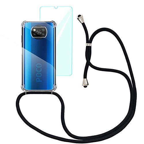 Yohii Funda con Cuerda para Xiaomi Poco X3 NFC/Xiaomi Poco X3 Pro + Cristal Templado Protector de Pantalla, Carcasa Transparente TPU Suave Silicon Colgante Ajustable Collar - Negro