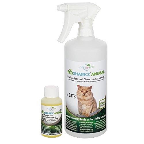 Geruchsneutralisierer Spray für Katzen - natürlicher Katzenurin Entferner - gegen Katzenklo Geruch (50ml Konzentrat ergeben 1-2 Liter gebrauchsfertigen Urin-Geruchsentferner)