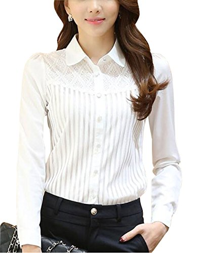 Womens Vintage Collared Pleated Button Down Shirt Long Sleeve Lace Stretch Blouse White 12