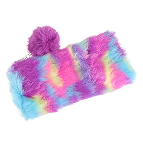 TENDYCOCO Flauschige Federmäppchen Geldbörse Regenbogen Plüsch Reißverschluss Kosmetiktaschen Clutch Pouch für Studenten Mädchen