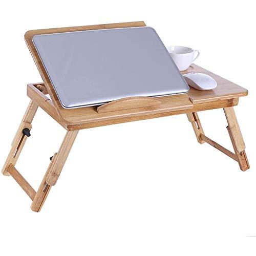 YCX Multifunktions Einstellbar Laptop Tisch Lapdesks Tragbar Stehbett Schreibtisch Faltbar Frühstück Tablett Notebook, Für Couch Boden Sofa,Natural