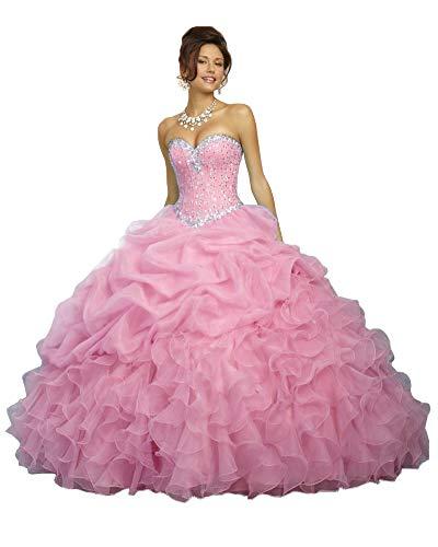 Nanger A Linie Quinceanera - Vestido Largo de Princesa, sin Hombros, Vestido de Fiesta