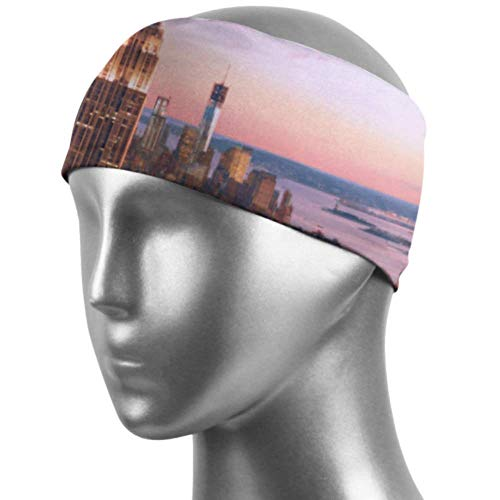 Verctor Bandeau antidérapant New York City Skyline Over River Colored Hair Bands Unisex Moisture Wicking