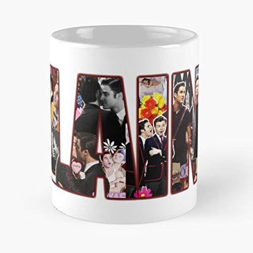 Hummel Blaine Telefilm Darren Glee Criss Anderson Chris Tlos Colfer Klaine Kurt Best Taza de café de cerámica de 325 ml, con texto en inglés 'Eat Food Bite John Best Taza de café de cerámica de 325 ml