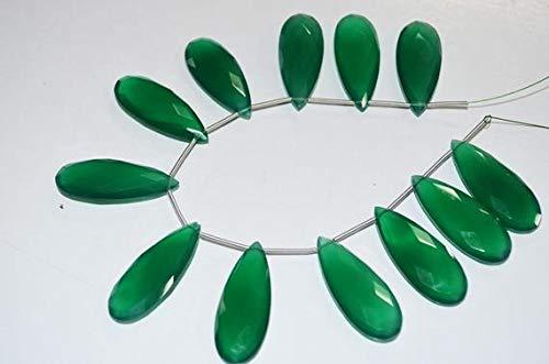 Juweel Kralen Natuurlijke Mooie Sieraden Groene Onyx Lange Peer Voorkant Boor, 14x35 mm 8