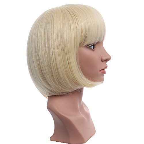 "BESTUNG 10"" Short Straight Flapper Bob Wigs Synthetic Heat Resistant Cosplay Party Costume Halloween Hair Wig(613#-Pre Bleach Blonde)"