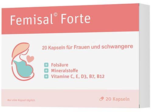 Femisal Forte | 20 Kapseln Kinderwunsch | Mit Folsäure und Vitamin C + B12 und Eisen | Vegan - Made in Germany