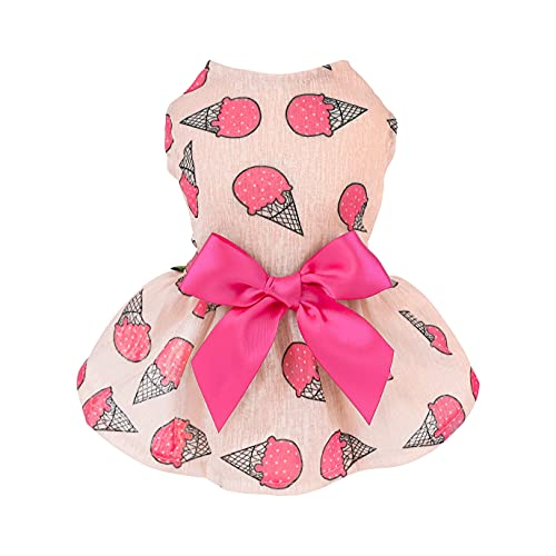 Fitwarm Sweet Ice Cream Pet Clothes for Dog Dresses Vest Shirts Sundress Pink Large