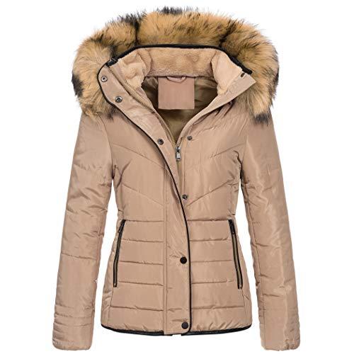 Elara Damen Steppjacke Winter Tailliert Chunkyrayan MP19901 Khaki 38 (M)
