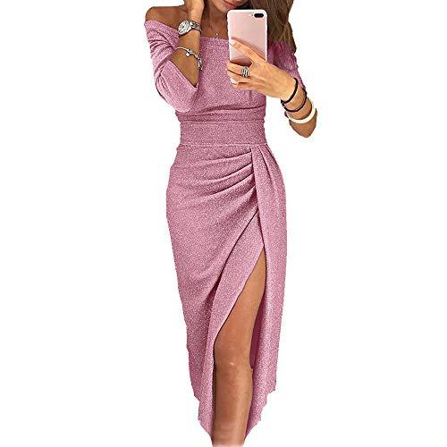 OrientalPort Elegante vestido sin hombros para mujer,...