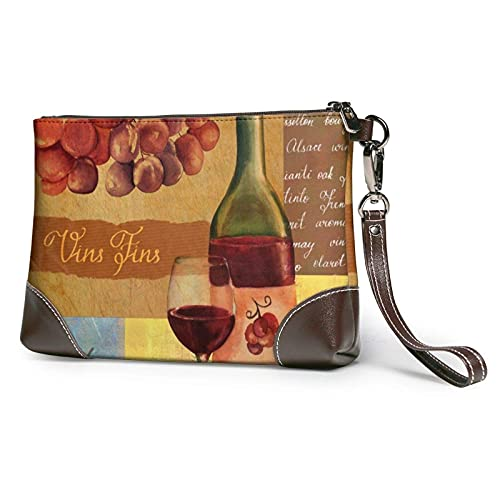 Yaxinduobao Bolso de mano con estampado de copa de vino tinto fino Vintage, bolso de mano de cuero desmontable, bolso de mano para mujer