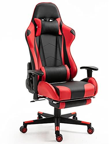 GPAIHOMRY Silla de videojuegos de ajuste de altura, silla ergonómica para juegos, silla de computadora con cuero sintético, silla de videojuegos de PC para hombres y mujeres