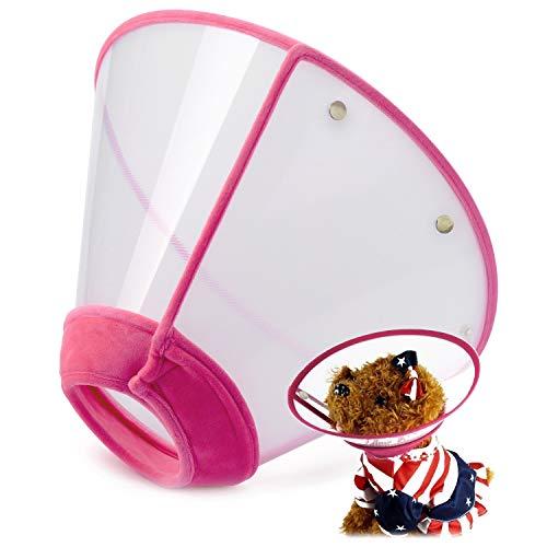 Collar de cono de perro con forma de cono de gato ajustable en la mano con cuello de cono de plástico suave y transpirable, diseñado para gatos y cachorros.