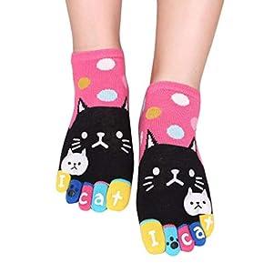 OPAKY Mujeres Hombres Lindos Gatos Calcetines Divertidos Cinco Dedos Calcetines Suelos Resbaladizos Yoga Trampolines Viajes Trabajo Deportes