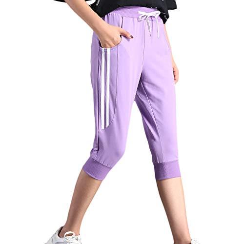 KDi Women's Shorts Jogger Sweatpants Running Trousers Tracksuit Capri Pants (M, 1# Lavender)