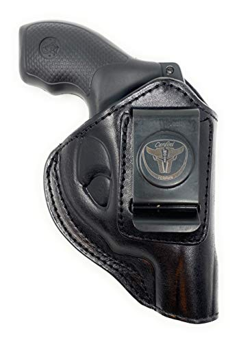 Cardini Leather USA -IWB Ultra Soft Leather Holster - for S&W Bodyguard 38 Special, M&P 340, Taurus 85 - and Other Snub Nose Revolvers - Inside The Waistband with Clip (Black, Right Hand (Inside the Waistband))