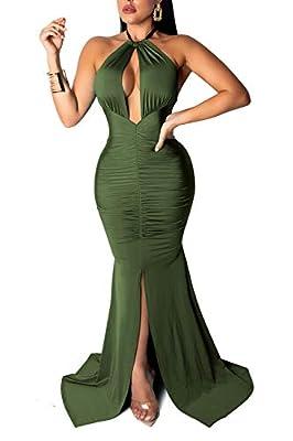 Chemenwin Women's Sexy Long Sleeve Deep V-Neck Party Maxi Long Dress Casual Jumpsuit Rompers Clubwear