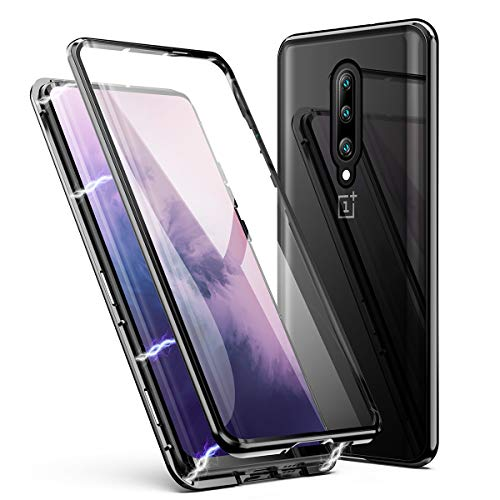 OnePlus 7 Pro Case, ZHIKE Magnetic Adsorption Case Front and Back Tempered Glass Full Screen Coverage One-Piece Design Flip Cover for OnePlus 7 Pro Case (Clear Black)