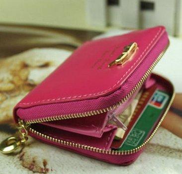 Rabbit-yyy Mini borsetta da donna in finta pelle, portafogli, portacarte alla moda, color confetto